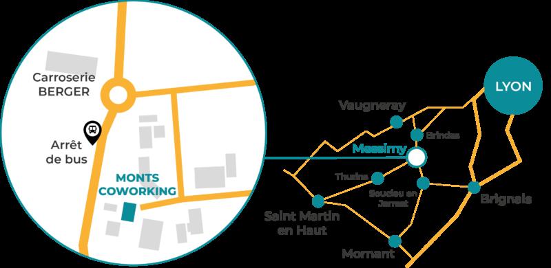 Monts Coworking | Coworking Messimy, Chaponost, Brindas, Thurins, Francheville, Saint-Genis-Laval, Vaugneray, Craponne, Brignais, Soucieu-en-Jarrest,